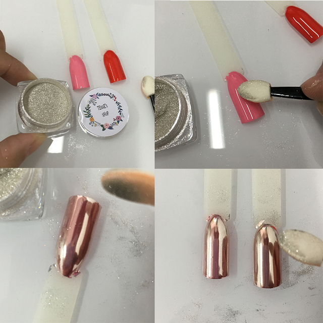 Oro cromo uñas efecto en color rosa espejo Polvos de maquillaje ...