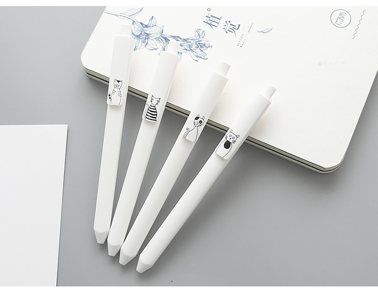 Cat Design Ballpoint Gel Pen 6 pcs