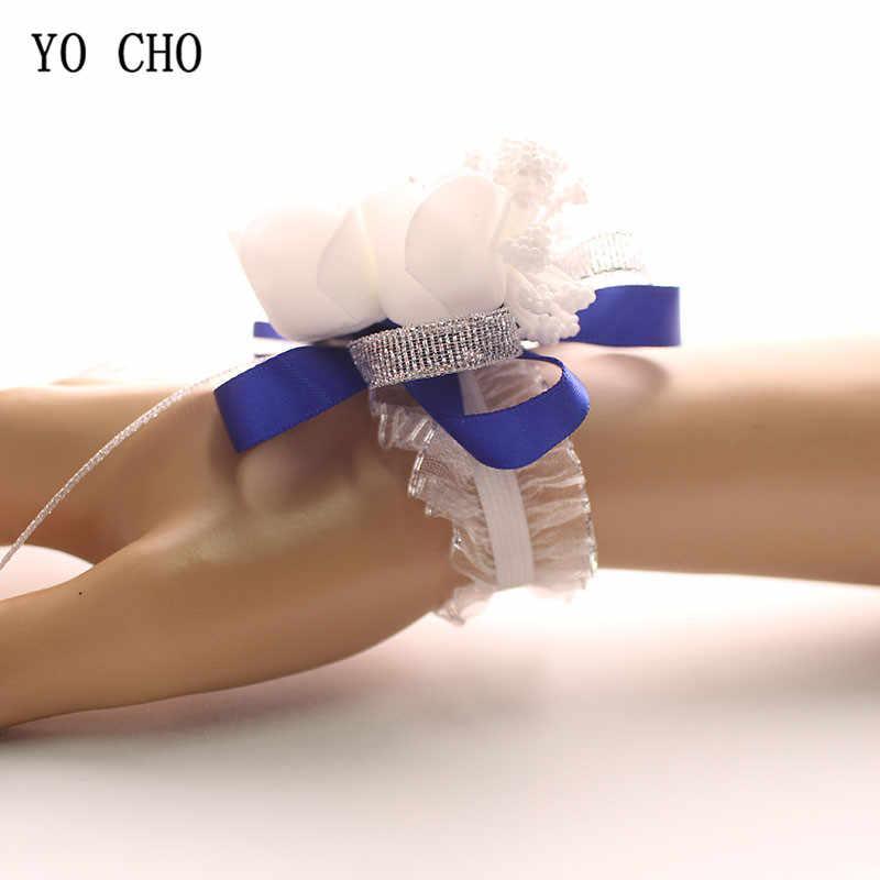 Yo Cho Pergelangan Tangan Korsase Bridesmaid Bride Pergelangan Tangan Korsase Gelang Perlengkapan Mawar Sutra Putih Pergelangan Tangan Bunga Pernikahan Pernikahan Aksesoris