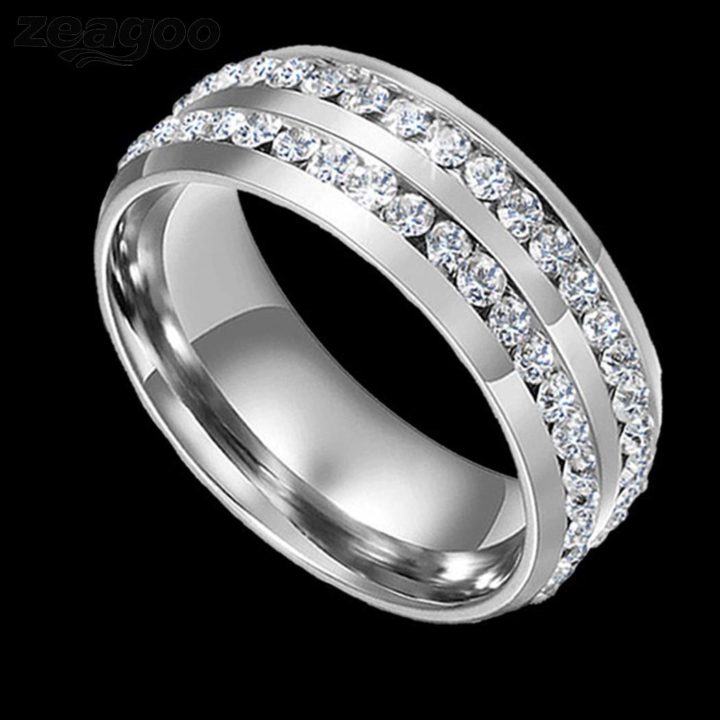 Engagement Shining Fashion Wide Wedding Plated Ring Couple Silver Jewelry & Accessories