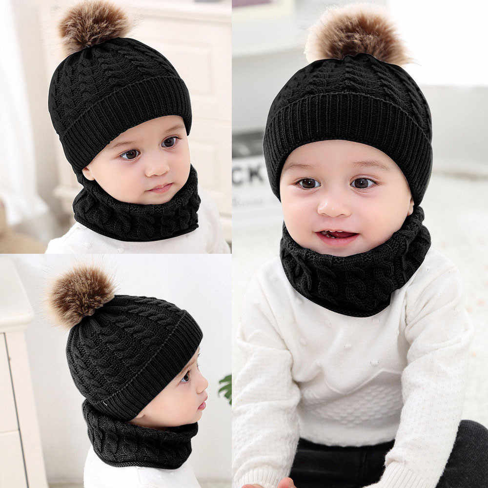 Baby Hat Winter New Fashion 2Pcs Toddler Baby Girls Boys  Solid Hat Winter Warm Knitted Beanie Cap+Scarf Keep Warm Set Kids Cap
