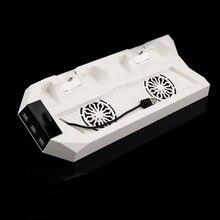 Para PlayStaion4 Dupla Vertical Controlador do Carregador Estação Doca De Carregamento Suporte Suporte & Cooling Cooler Fan + 2 HUB USB Poder para PS4