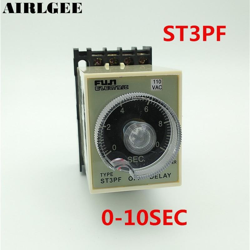 цена на ST3PF 110V AC 8-Pin 1NO 1NC DPDT 0-10sec Off-delay Operation Time Delay Timer Relay Black