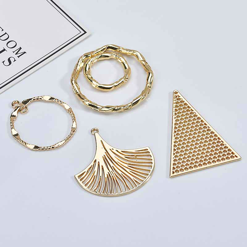 DIY Ear Jewelry Accessories Alloy Simple Geometric Hollowed Leaf Triangle Circle Earring Material Pendant 6 Pieces