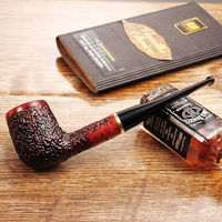 2019 New High grade ADOUS Straight Smooth briar Tobacco pipe Smoking pipes carved 9MM pipe off JS519