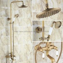 цена на Antique Brass 8 Rainfall Shower Faucet Dual Handle Wall Mount Tub Spout Bath Shower Mixers + Handshower Brs145