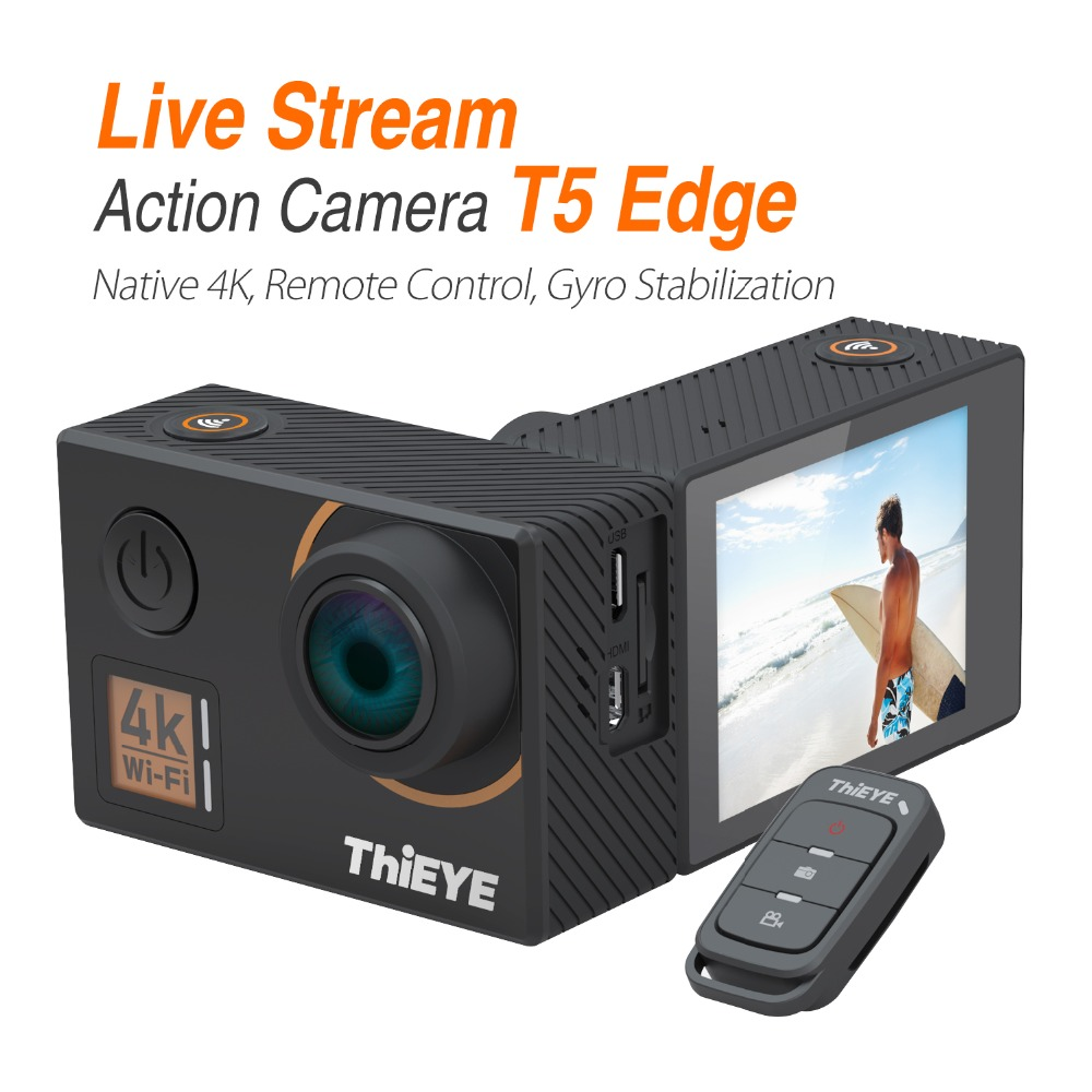 ThiEYE T5 Edge With Live Stream WiFi Action Camera Real 4K Ultra HD Sport Cam with EIS Remote Control 60M Waterproof(China)