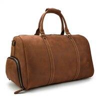 Luufan Новое поступление мужская кожаная дорожная сумка Duffle Сумки для наружной деловой поездки на плечо отделение для обуви сумка большой емк