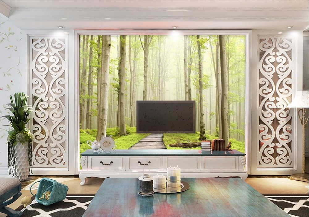 Custom mural 3d wallpaper Small forest road scenery home decor ...