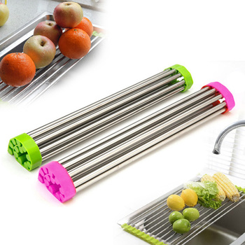 12/15 tubes 4 sizes Roll Up Folding Over the Sink Multipurpose Dish Drying Rack Silicone Colander Foldable Sink Drainer Tray