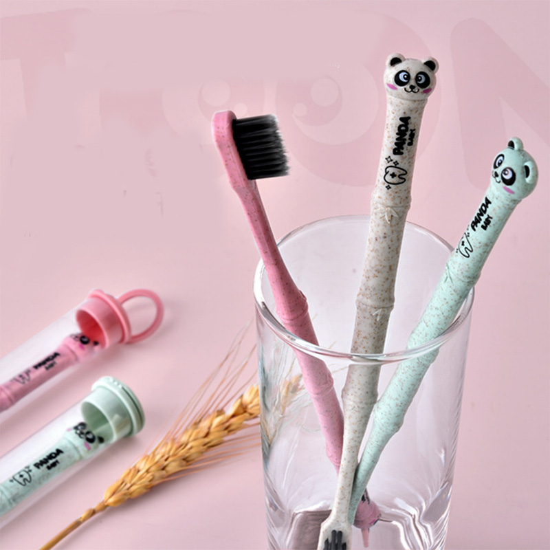 Natural 1pc Bamboo Family Toothbrush Soft Brush Panda Degradable Oral Care Nano-antibacterial Cute Mini Heads For Adults