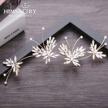 HIMSTORY New Bridal Wedding Hair Accessories Bling Crystal Butterfly Barrettes Hairband Girls  Jewelry Headpiece