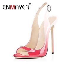 hot deal buy enmayer sexy woman shoes high heels sandals summer new peep toe thin heels denim buckle strap thin heels lady shoes causal cr7