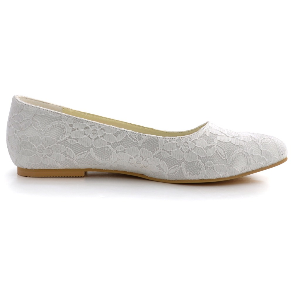 Ivoire Élégant Confortable Ep11106 Satin Bout De Chaussures Blanc Femmes Partie Mariage white Appartements Mariée Rond Dentelle Fermé Lady Ivory 4SwxqEF