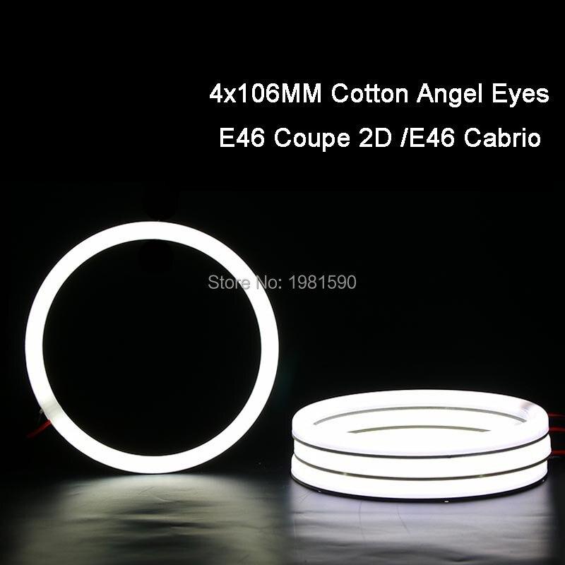 4x 106mm SMD Angel Eyes Halo ring Cotton Light No Error White Car Headlight Kits For