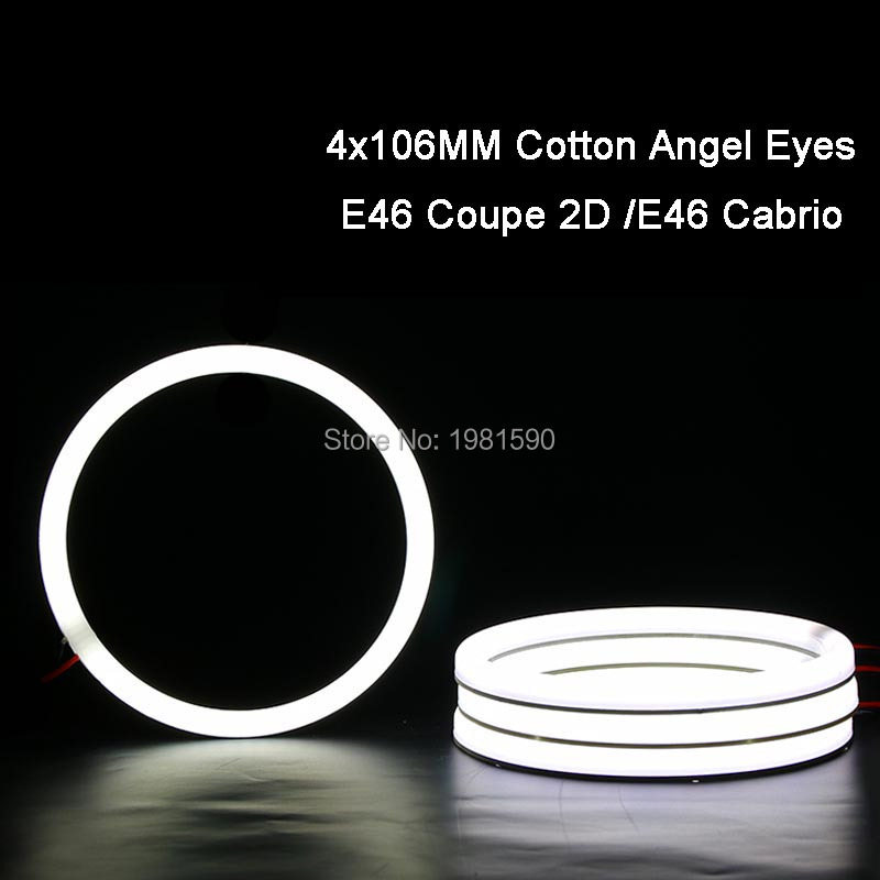 4x 106mm SMD Angel Eyes Halo ring Cotton Light No Error White Car Headlight Kits For BMW E46 2D Coupe E46 Cabrio bmw e83 x3 e46 compact 2w 25000k ccfl purple light car angel eyes kit dc 12v 131mm 106mm diameter