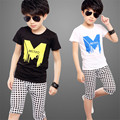 Retail Selling 2016 New Boy's Suit Sets The Boys Fashion Cotton Short Sleeve T-shirt + Shorts Exempt Postage Delivery