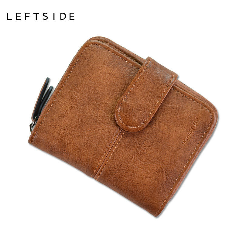 LEFTSIDE Designer Leather Women Cute Short Money Wallets With Zipper Female Small Wallet Lady Coin Purse