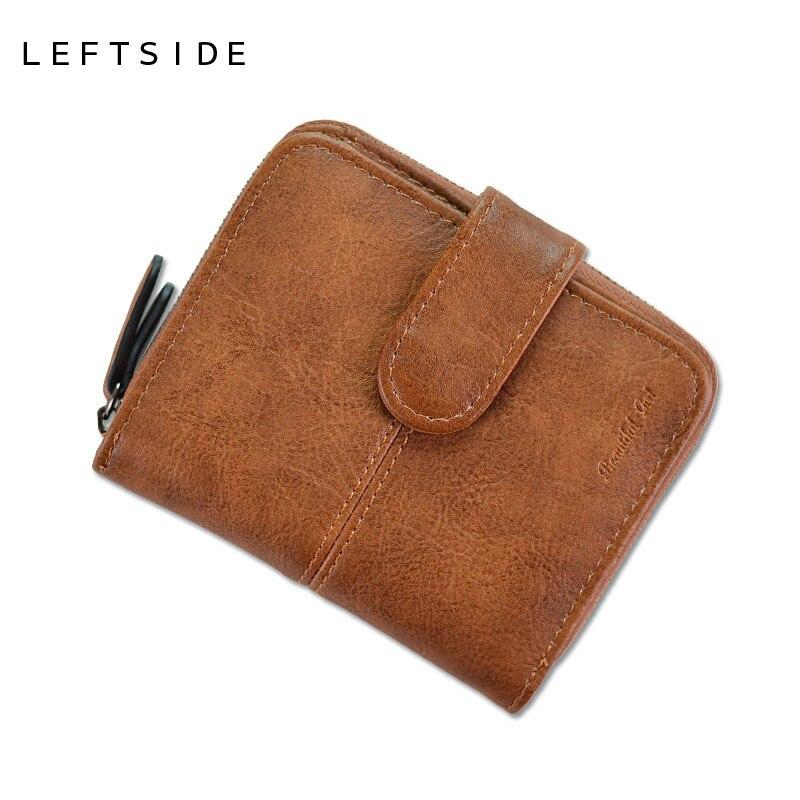 LEFTSIDE PU del diseñador mujeres lindo corto carteras de dinero con cremallera femenina cartera pequeña señora tarjeta monedero monederos