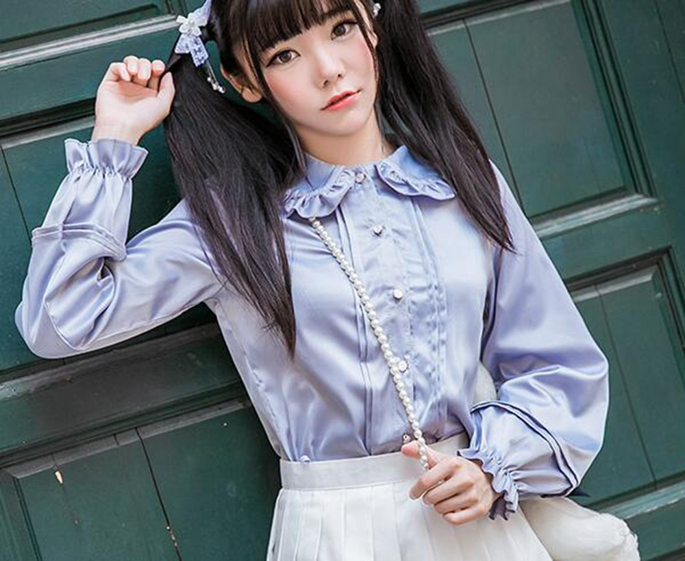 Sweet Girls Lolita Peter Pant Ruffle Collar Long Sleeve Blouse Accordion Shirt Tops