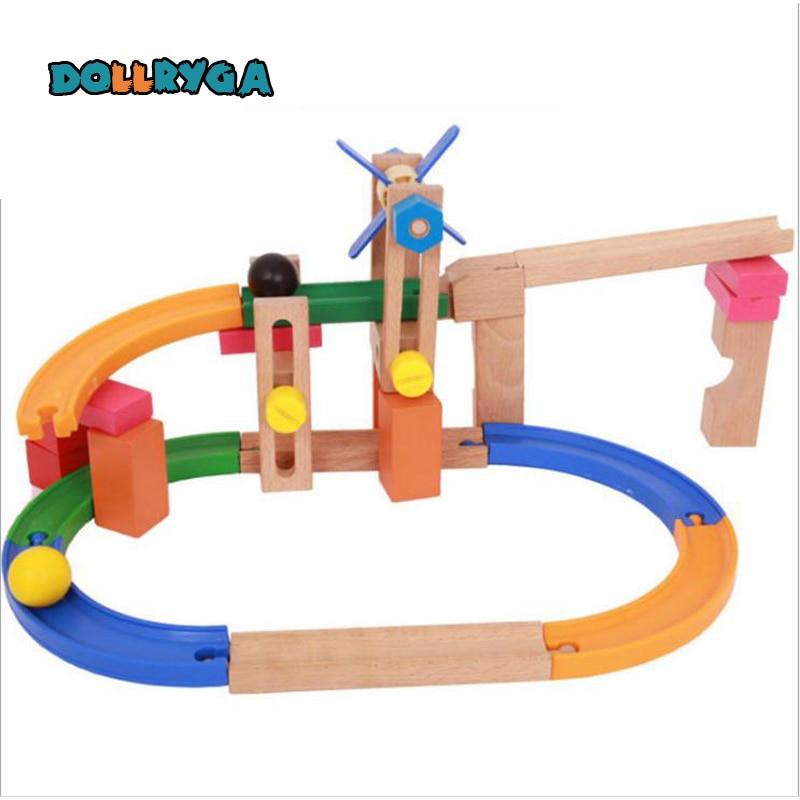 Bricolage blocs en bois enfants montagnes russes en bois arc-en-ciel piste couture jouets éducatifs de noël cadeau livraison gratuite DOLLRYGA