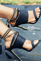 Summer New Fashion Women Open Toe Black Pattern Leather Ankle Chain Strap High Heel Sandals Tassels