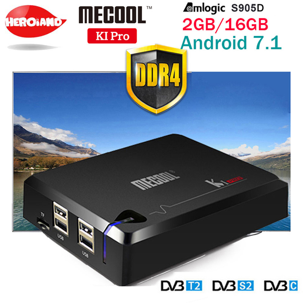 MECOOL KI PRO DVB Android 7.1 smart TV Box DVB-T2/DVB-S2/DVB-C Amlogic S905D Quad 2G + 16G Supporto Set Top Box Clines PK KII PRO