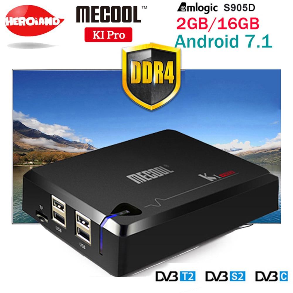 Mecool ki pro dvb android 7.1 caixa de tv inteligente DVB-T2/DVB-S2/DVB-C amlogic s905d quad 2g + 16g apoio conjunto caixa superior clines pk kii pro