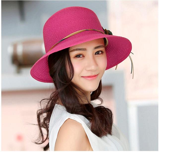 HTB1ccFiowfH8KJjy1zcq6ATzpXaQ - 2018 Summer New Solid Floppy Straw Hats For Women Flower Accessories ladies Summer Beach Sun Caps Panama Style Hat