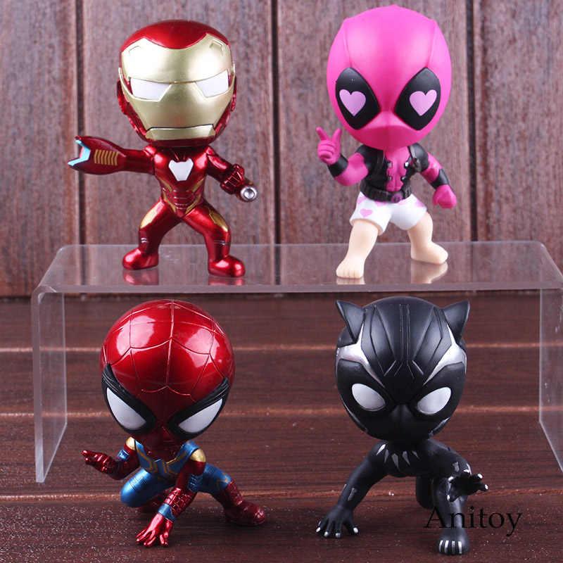 Figuras de Ação da Marvel Homem De Ferro Homem Aranha Spider-man Black Panther Deadpool Maravilha Estatueta BobbleHead Boneca Brinquedos 9-11 cm