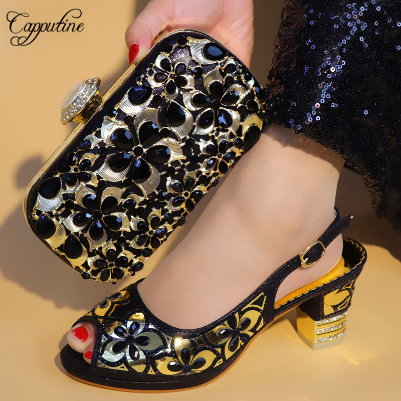 Capputine New Arrival Italian Crystal Shoes And Bags To Match Set Fashion Shoes With Matching Bags Nigerian Women Wedding Shoes цена