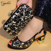 Capputine New Arrival Italian Crystal Shoes And Bags To Match Set Fashion Shoes With Matching Bags Nigerian Women Wedding Shoes