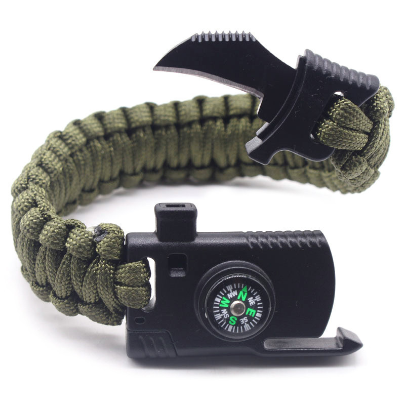 Outdoor Multi Tools Survival Emergency Bracelet with Tool Camping Survival Multi - Functional Hand Rope Umbrella Rope 4 pcs cowhide rope hand bracelet