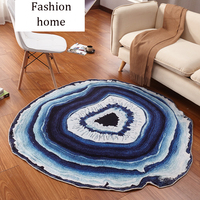 Country Style Nylon Fabric Tree Rings Wood Carpet And Rug Stripe Blue Lake Living Room Bedroom
