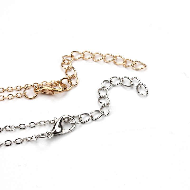 1 pc proste koło urok karta życzeń Choker Collier naszyjniki linki łańcuchy złota płyta dla kobiet oświadczenie biżuteria prezent