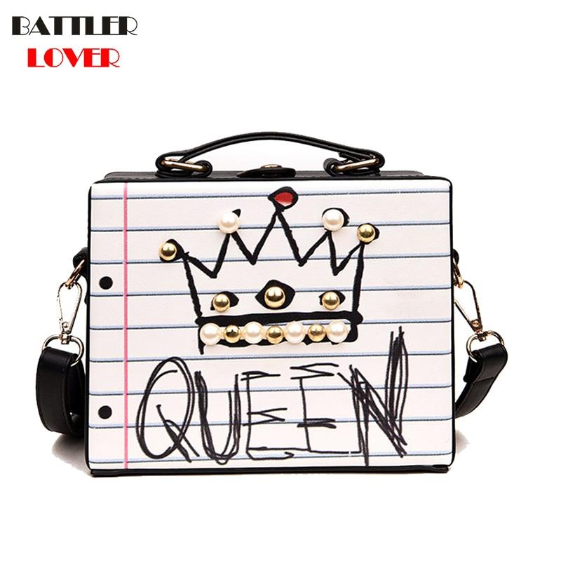New Arrival Letter Diamonds Pearl Rivet Box Shape Womens Casual Female Handbag Party Purse Ladies Mujer Crossbody Messenger Bags