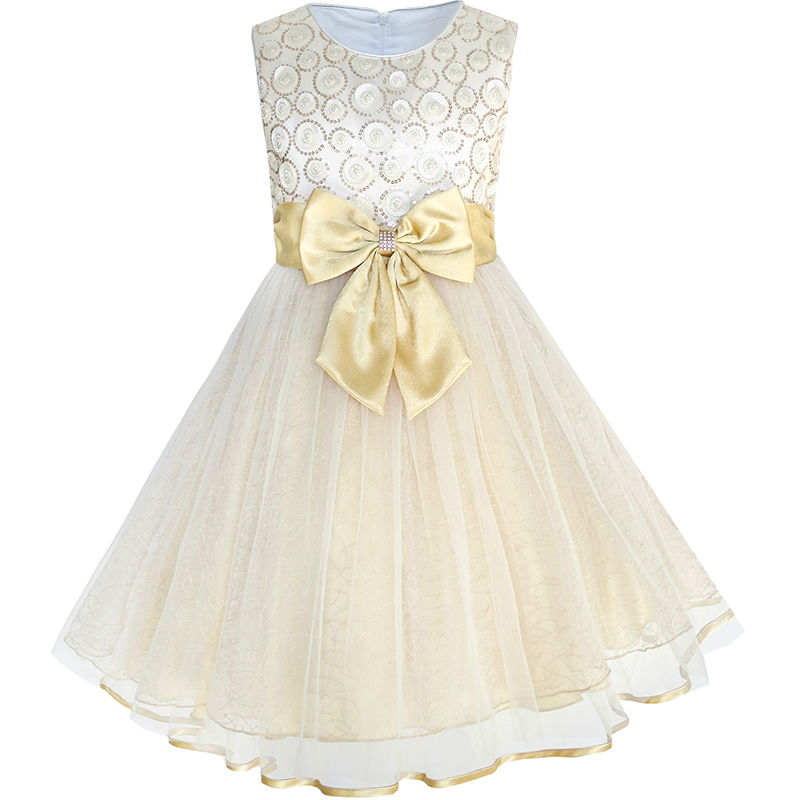 Flower Girls Dress Bow Tie Champagne Sequin Wedding Pageant 2017 Summer Princess Party Dresses Children Clothes Size 2-10 girls dress ruffles tulle tiered dress sequin party birthday princess 2016 summer wedding dresses kids clothes size 4 12 pageant