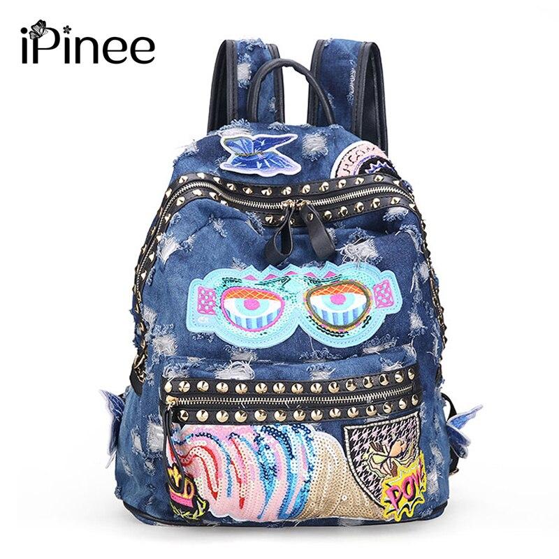 iPinee Women s Denim Backpacks School Bags For Women Teenager Girls Shoulder Bag Large Travel Rucksack