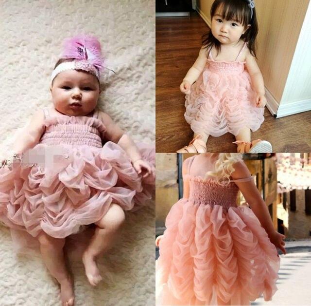 292e43fcf13 Girls Cute Tutu Dresses Baby Girl Pink Princess Party Sleeveless Strap  Ruffle Summer Bubble Tutu Dress 1-6Y