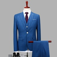 3pc Jacket Pants Vest Classic Men Suit Slim Fit Royal Blue Wedding Groom Wear Men Suit