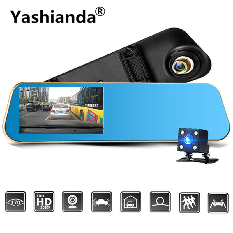 Yashianda 4.3 Inch Car DVR Camera 1080P HD Dual Lens Rear View Mirror Video Recorder Cam Vehicle Reversing Camera Dash Camera