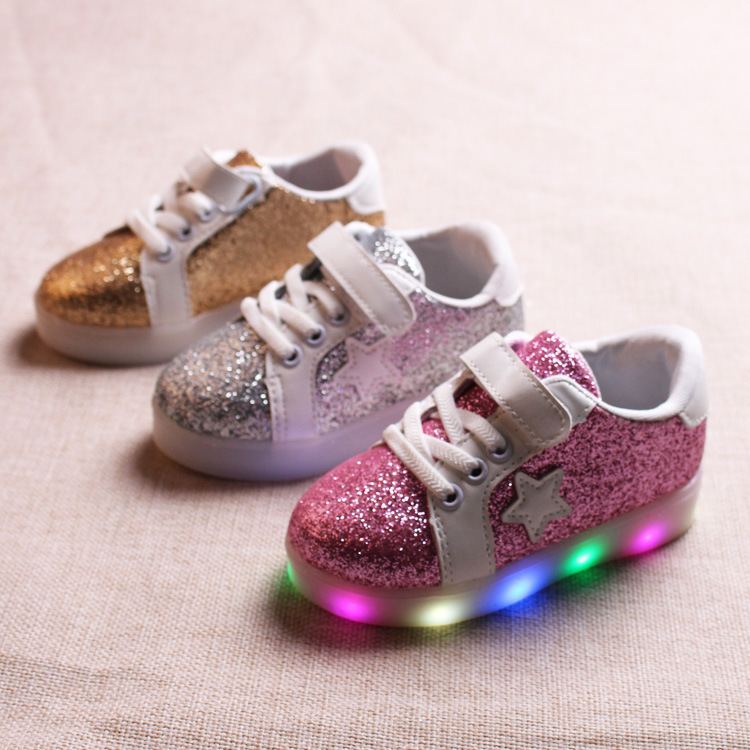 New 2017 European fashion fashion lighting children shoes princess cute baby girls boys hot sales fashion kids sneakers