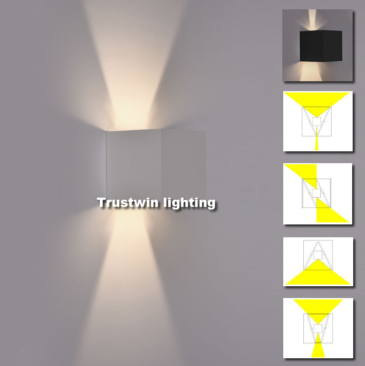 4 piece waterproof outdoor wall light l sconce led up and down ip65 adjustable modern cube