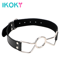 IKOKY Metal Open Mouth Ring Leather Oral Fixation Flirting Roleplay Play Sexual BDSM Bondage Strap Erotic