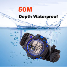 Survival Outdoor Bracelet Watch Emergency Multi-functional Waterproof 50M Paracord Knife Compass Thermometer Whistles First Aid emak survival watch outdoor camping medical multi functional compass thermometer rescue paracord bracelet equipment tools kit