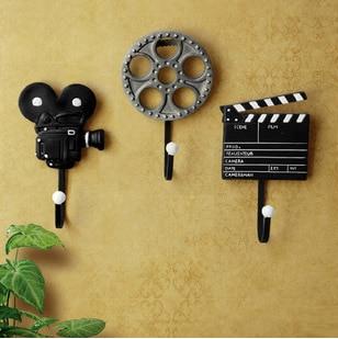 New Arrival! 3pcs/lot Creative Coat Hook Wall Hanger Film Equipment Design Wall Decoration Hook Hot Selling! W1030