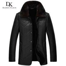 Brand Dusen Klein Genuine leather Jacket for men sheepskin large mink wool liner detachable Designer leather coats 14J8832