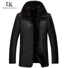 2017 New Dusen Klein leather Jacket men Genuine sheepskin mink fur collar wool liner Designer leather coats 14J8832