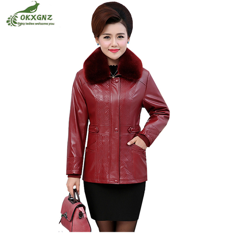 Fur collar   Leather   Jacket Female2019Winter Women PU   Leather   Coats Jacket Fur One Plus Velvet Thick warm Outwear Plus Size Parkas