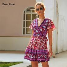 Женское платье с коротким рукавом v образным вырезом и цветочным